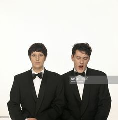 GIllian Gilbert and Stephen Morris (posing in imitation of Pet Shop Boys' album cover for 'Actually')