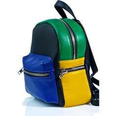 Current Mood Block Party Mini Backpack ($32) ❤ liked on Polyvore featuring bags, backpacks, color block backpack, zip backpack, faux-leather backpack, fake leather backpack and vegan backpack