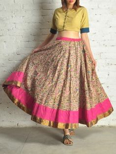 Magenta-Beige Block Print Kalidar Cotton Skirt - by Folksy Nomad