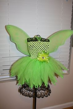 Items similar to Tinkerbell Tutu Dress with Removable Flower Clip on Etsy Robes Tutu, Tulle Tutu, Tutu Dresses, Little Girl Crafts, Fall Crafts, Diy Crafts, Crochet Baby Costumes, Fairy Tea Parties, Tinkerbell Fairies