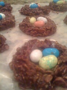 No Bake Oatmeal Cookies as the bird's nest!  So cute for Spring!