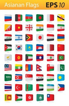 Bandeiras asiáticas — Ilustração de Stock Flags Of European Countries, Countries And Flags, Countries Of The World, All World Flags, World Country Flags, Laos, Asian Flags, General Knowledge Book, Floral Watercolor