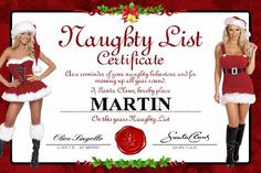 "Make a homemade ""naughty"" certificate for your man or lady and send with a sexy letter ;) You could buy this exact certificate for 2 pounds, or if you're cheap like I am you can save this photo and use an editor like iPiccy to put a white box over the old name and type a new one over it, then print! For that extra touch you could also glue your own face over the ones of the girls on here. Annd there's a girl's version decorated with sexy men ;) #ldr #Christmas"