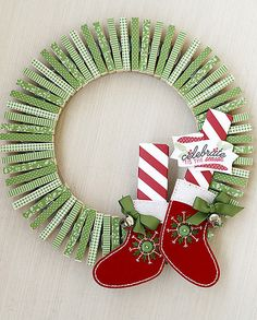 Elf Wreath with Clothespins Using Dies From Papertrey Ink | Flickr - Photo Sharing!