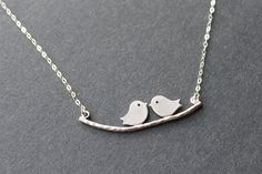 Love Birds on Branch Necklace Kissing Birds by emilymoon2003, $23.00