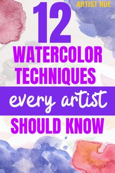 12 Watercolor Techniques for Beginners: Step-by-Step Instructions - Watercolor Painting easy Painting ideas Painting water Painting tutorials Painting landscape Painting abstract Watercolor Painting Watercolor Beginner, Watercolor Tips, Watercolour Tutorials, Watercolor Drawing, Watercolor Pencils, Watercolor Portraits, Watercolor Landscape, Watercolor Flowers, Painting Tutorials