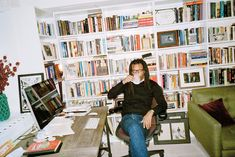 The author in the sitting room of his West Village duplex apartment, where he finished his latest book after moving his desk from an upstair...