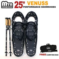 """New MTN Man Woman Kid Youth 25""""Black Snowshoes  Nordic pole  Free Bag >>> Be sure to check out this awesome product."""