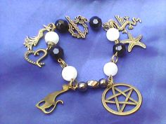Bronze Hematite, Moonstone, and Obsidian Witches Charm Bracelet