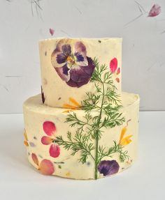 Dried edible flowers decorate this cake by Bee's Bakery