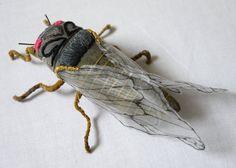Fabric sculpture - Dark gray cicada textile art