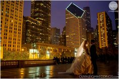 Beautiful shot of the couple at this Chicago winter wedding