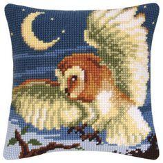 Night Owl Pillow Top - Cross Stitch, Needlepoint, Stitchery, and Embroidery Kits, Projects, & Needlecraft Tools   Stitchery