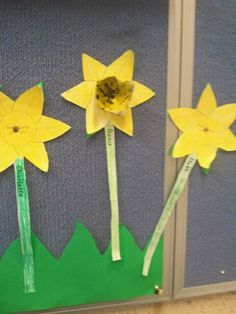 I make these flowers on the first day of spring..... draw a simple flower design for students to colour in. Each student gets a egg carton cup which will be the middle of the flower which we glue on the flower. You could also do these to label parts of the flower. Its also a beautiful display in the classroom
