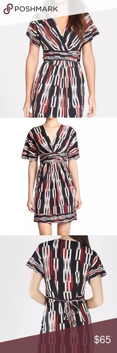 """Kaitlin Shibori Striped Kimono Dress Shibori stripes energize a stretch-jersey sheath styled with a plunging surplice neckline and waist-whittling belt for a flattering faux-wrap effect. Short dolman sleeves afford versatility. Length {37"""".} Slips on over head. Unlined. 94% polyester, 6% spandex. Featured in a poppy red, black and cream combo {and television worthy--as seen on The Young + The Restless!} BCBGMaxAzria Dresses"""