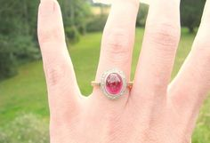 Vintage Ruby Diamond Halo Ring Big Beautiful Cabochon by Franziska, $348.00