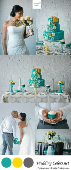Teal, Yellow and Grey Wedding Inspiration| Photo's by Gricel's Photography
