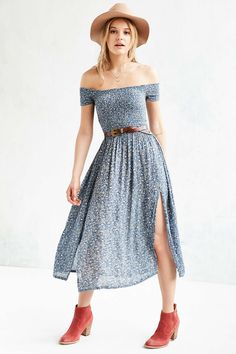 Kimchi Blue Picnic Smocked Off-The-Shoulder Midi Dress