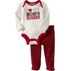 Old Navy Graphic Bodysuit & Pant Sets For Baby ($13) ❤ liked on Polyvore featuring baby, baby clothes, kids, baby girl clothes and babies.