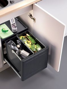 Buy Blanco Select Botton Pro-Automatic Under Counter 2 Section Pull-Out Kitchen Bin, from our Kitchen Bins range at John Lewis & Partners. Kitchen Sink Storage, Kitchen Waste, Grey Kitchen Cabinets, Kitchen Flooring, Kitchen Reno, Kitchen Ideas, Kitchen Design, Integrated Kitchen Bins, Under Sink Bin