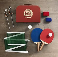 Dining Table Tennis :: Serve up a guerilla game for 2 with paddles, balls, a full-size net, table-friendly clamps and, most importantly, terrycloth wristbands. ($35 SALE $17.49) [Brynn]