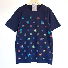 A TOUCH OF COLOUR t shirt. 100% organic cotton t-shirt. Hand painted. Blue shirt. Colourful dots. by Smukie on Etsy