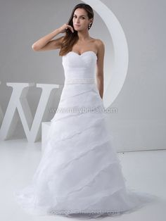 A-line Sweetheart Organza Sweep Train Tiered Wedding Dresses -$279.79