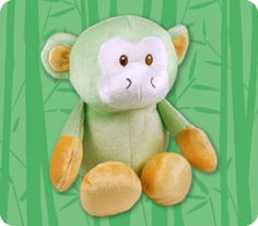 Plush Monkey is as special as they come. From the BambooZoo collection, featuring an irresistible menagerie in ice cream colors and silky soft fabrics. He has slightly weighted tush & toes, so he can sit up and play.   Pistachio Green Plush Monkey is a cute chimp, with little ears to tug and long arms to hug ~Velour made with Forest Stewardship Council (FSC) certified bamboo viscose