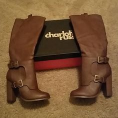 *NWT* Super cute brown boots ! *NWT* Super cute boots by Charlotte Russe, size 6. Style is Heather, color is brown, box included ! Charlotte Russe Shoes Heeled Boots