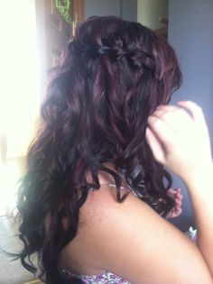 Red Violet hair with Waterfall braid