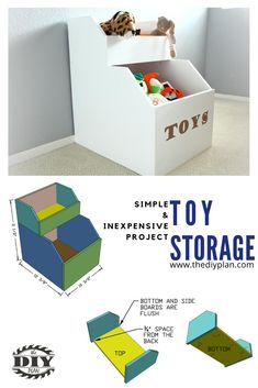 My wife helped building this toys storage for kids bedroom. This is a very simple and inexpensive project to build using plywood. Material cost about $35, depending on what type of plywood you buy. Our kids had toys all over the room on the floor The toy storage keeps most of their stuff in one place. #diy #freeplans #projects #homedecor #interior #furniture #woodproject #table #doityourself