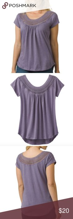 NWT Prana Nelly Crochet Shirt in Purple Mountain Just because you're back from your island vacation doesn't mean you have to live like it. Throw on the Prana Women's Nelly Shirt for a relaxed and stylish look that will get you into the island spirit. Featuring custom crochet lace detailing at the neckline and a dropped hem, the Nelly gives you that free-spirited feel that you need to make it through the day.  A lovely top for travel or days around town Eco-friendly fabric offers sustainable…