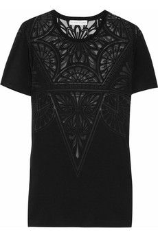 Jonathan Saunders  Boyfriend devoré cotton-blend T-shirt