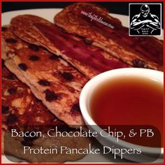 turkey bacon, chocolate chip, & peanut butter protein pancake dippers - THE FIT BALD MAN