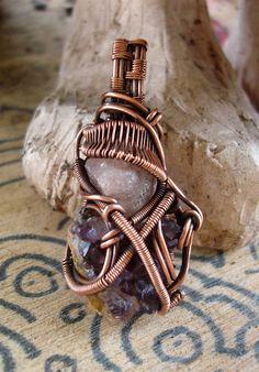 Copper Wrapped // Grossular Garnet // Amethyst by Magickwrapper, $63.00