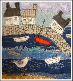 Another harbor pic … Loopy Linnet - embroidery Freehand Machine Embroidery, Free Motion Embroidery, Fabric Cards, Fabric Postcards, Art Textile, Textile Artists, Small Quilts, Mini Quilts, Beach Quilt