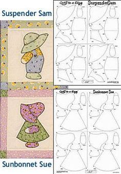 Sunbonnet Sue (2 figures per panel) &/or Suspender Sam (2 figures per panel) Quiltsmart Fusible Interfacing<br>1 Panel  Fits on 10 in. Block                                                                                                                                                                                 Más
