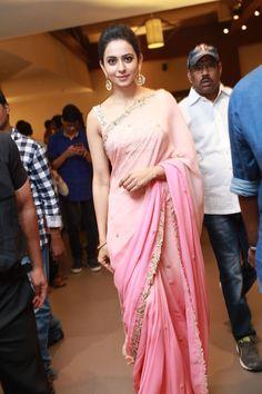 Rakul Preet Singh Photos In Pink Saree At Director Krish Marriage