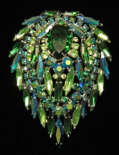 green & blue rhinestone brooch