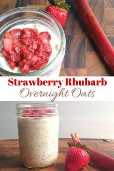 Strawberry Rhubarb Overnight Oats Recipe -- A healthy spring-inspired and make-ahead breakfast. Perfect for busy mornings! | @sinfulnutrition