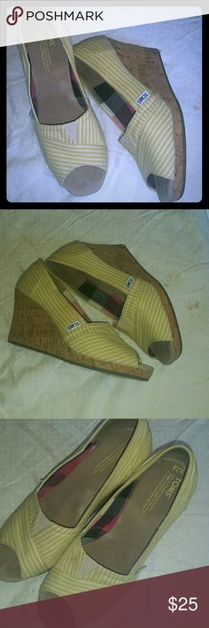 TOMS Wedges....Like New! Most comfortable pair of wedges you'll ever own! 3in cork wedge. Peep-toe. Adorable yellow with white stripes. Reasonable offers accepted! Or bundle with at least one other item and receive 25% off your bundle! TOMS Shoes Wedges