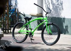 279.99 plus tax and shipping, or in-store pick-up. Skull X Bones Single Speed Glossy Neon Green with Black Rims. Aluminum Wheels, black finished forged cranks, cushy gel seat, and great colors. Call for more details (949) 675.5010