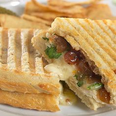 Turkey Panini (use Hannaford's apple cranberry chutney instead of Stonewall Kitchen, and use ciabatta rolls)
