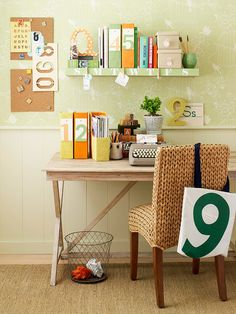 A collapsible table makes this office a versatile workplace. More office ideas: http://www.bhg.com/decorating/small-spaces/strategies/small-space-home-offices/?socsrc=bhgpin061812