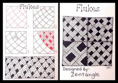 Zentangle : Tangle Pattern : Flukes drawn by ha! Tangle Doodle, Tangle Art, Zen Doodle, Doodle Art, Zentangle Drawings, Doodles Zentangles, Doodle Drawings, Doodle Patterns, Zentangle Patterns
