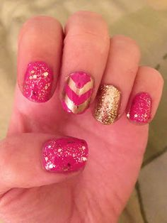 Pink and Gold Nail Art with sparkles and Chevron by Michelle Madow. Click the image to see the tutorial!