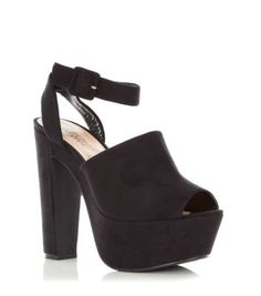Black High Vamp Ankle Strap Platform Shoe Boots