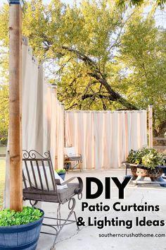 Outdoor Curtains For Patio, Outdoor Patio Designs, Outdoor Privacy, Diy Patio, Patio Ideas, Backyard Ideas, Outdoor Hammock, Gazebo Ideas, Outdoor Projects