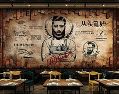 Your place to buy and sell all things handmade - You are in the right place about diy face mask Here we offer you the most beautiful pictures about - Barber Shop Decor, Barbershop Design, Beer Shop, Wall Murals, Wall Art, Coffee Poster, Coffee Shop Design, Wall Drawing, Wallpaper Size