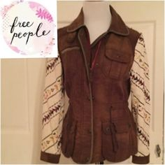 FREE PEOPLE JACKET Free People jacket rare, Rustic brown with cream & floral sleeves. Pockets, zips and drawstring waist, I love this but closet has to be cleared!  Free People Jackets & Coats Utility Jackets